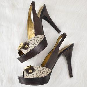 Guess Logo Slingback Platform Heels Size 7-1/2